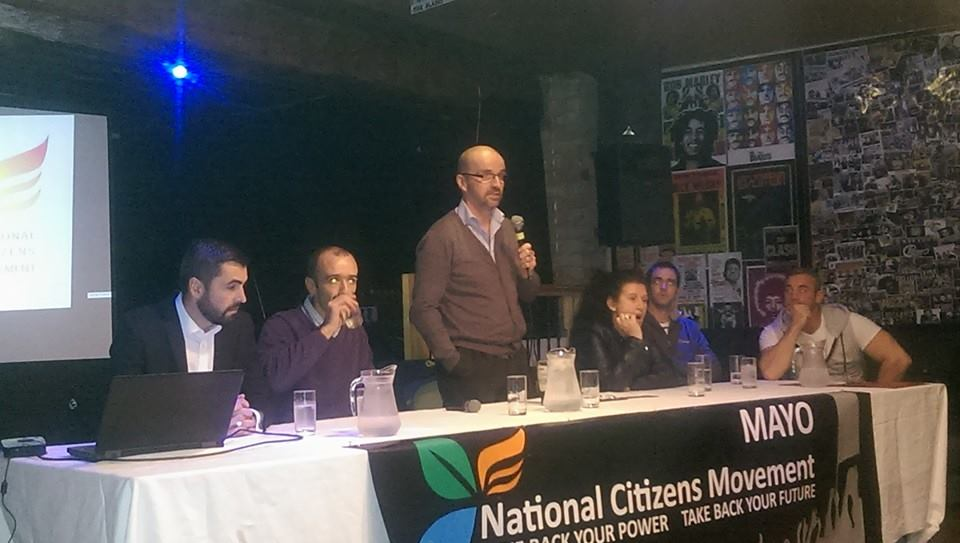National Citizens Movement. L-R: Aiden Dwyer (Mayo), Jamie Rooney (Mayo), Alan Lawes (NCM national group), Elizabeth Hourihane (NCM National), Michael Downey (Mayo)