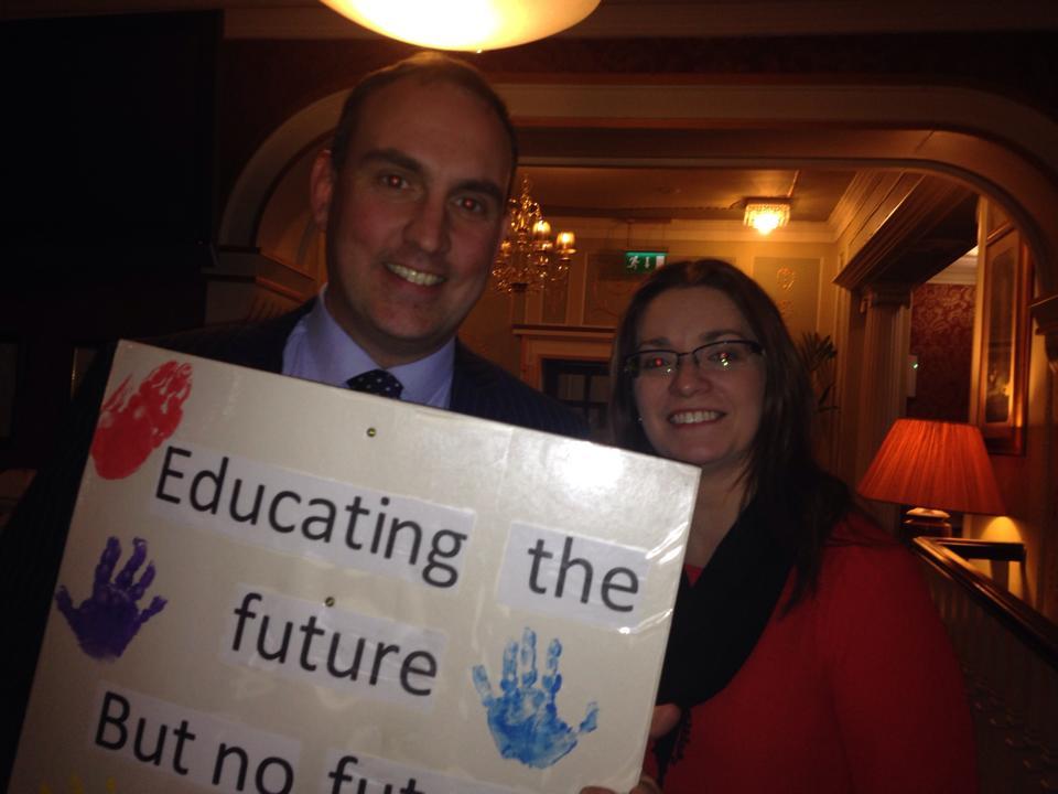 Senator MacSharry & Louise Kilbane, Chairperson. Assn. of Childhood Professionals, Sligo.