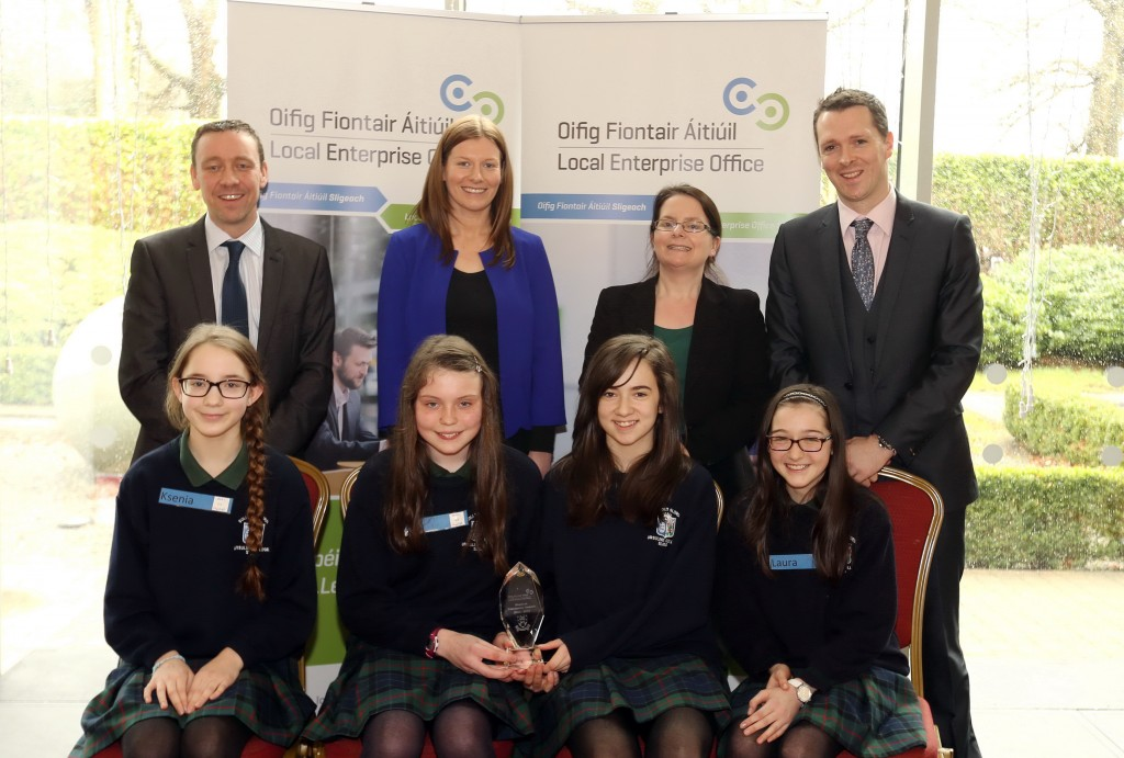 Ursuline College, Sligo. Overall  Junior Category Winner. Front (L-R) Ksenia Grigorjeva, Ellen Given, Hannah Fox and Laura Keane. Back: Liam Kiely (Judge), Ruth Tighe (Teacher), Nicola McManus (Judge) and Stephen Walshe, Business Adviser, Local Enterprise Office, Sligo.