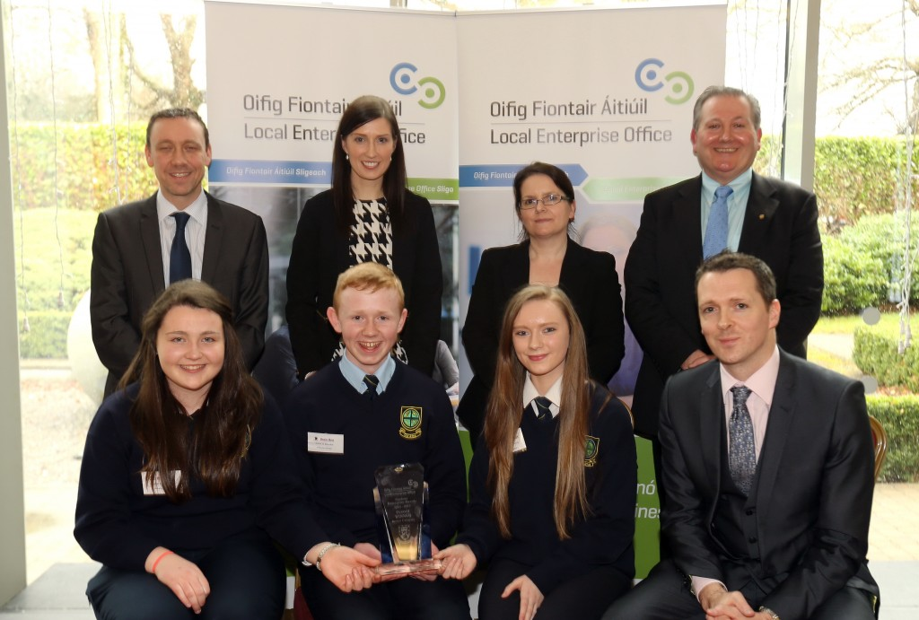 Coola Post Primary School, Overall Senior Category Winner. Front (L-R) Roisin Faughan, Colm O'Rourke, Karen Flaherty and Stephen Walsh, Business Adviser, Local Enterprise Office, Sligo. Back: Liam Kiely, (Judge). Edel Cryan (Teacher), Nichola McManus (Judge) and Brian Dolan, (Schools Co-ordinator)