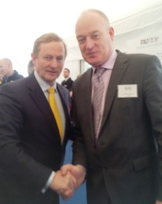 Patrick Kent, President of the Irish Cattle & Sheep Farmers' Association pictured with the Taoiseach, Enda Kenny.