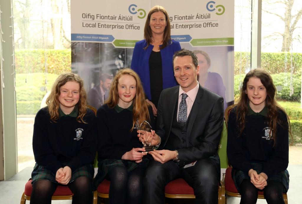 Ursuline College, Sligo. Runner up, Junior Category. From (L-R) Eilish Burke, Ellen Prior, Fiona Stenson with Stephen Walshe, Business Adviser, Local Enterprise Office, Sligo. Back: Ruth Tighe (Teacher)