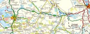 Sligo to Enniskillen map
