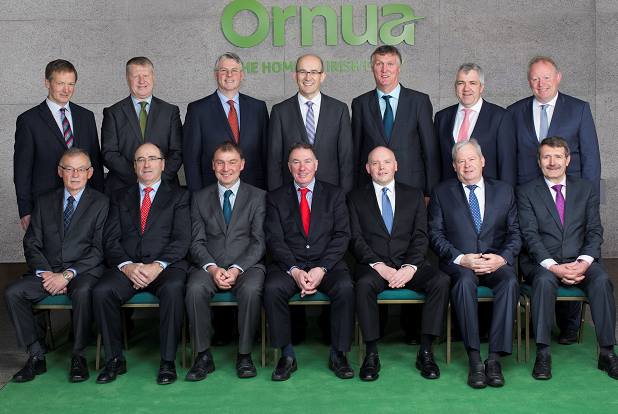 Ornua Co-operative Board of Directors - Top Row L-R: Dermot O'Leary, Conor Ryan, Jim Bergin, Jim Woulfe, Jim Russell, Vice Chairman; James Lynch, Sean O'Leary. Bottom Row L-R: Dan MacSweeney, Michael Hanley, John Comer, Aaron Forde, Chairman; Pat Sheahan, Martin Keane, Ted O'Connor.