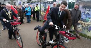Pascal O'Donohoe, former Minister for Transport launching Galway bike scheme
